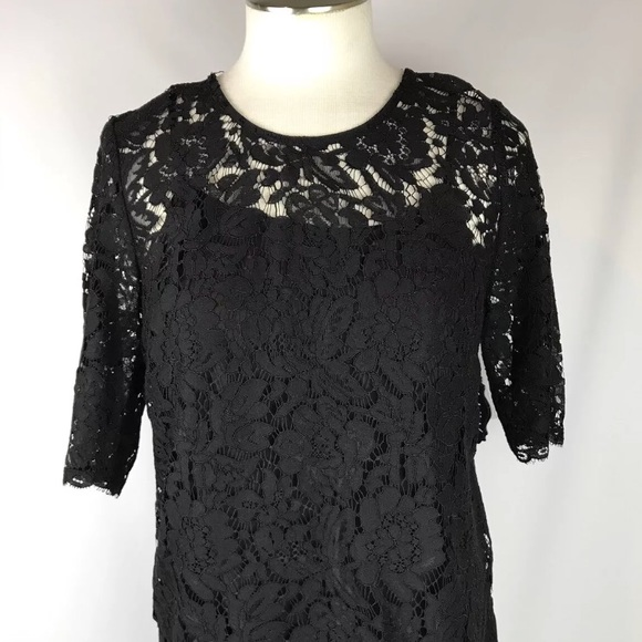 a.u.w Tops - Black Lace Blouse Gold Button Back Small